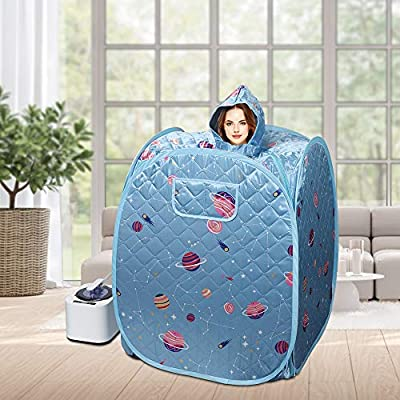 """""""N/A"""" Household Sauna Portable steam Upgrade 2.2L Steamer, Light Tent, one Person Full Body spa, can Perform Weight Loss Detox Therapy (US Plug)-Blue Floral"""